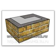 Блок угловой наружный проёмный с фактурой, цветной фото