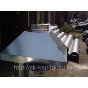 Зонт вытяжной островной оцинкованный 300х1000 с сетчатым жироуловителем фото