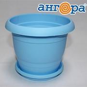 Кашпо ТОПРАК 1,8л с поддоном голубое *40 (Ангора) фото