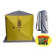 Палатка зимняя куб Helios 1,5х1,5 4желтый/1серый фото