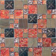 Стеклянная мозаика с камнем Liberty -4 300*300*8 фото