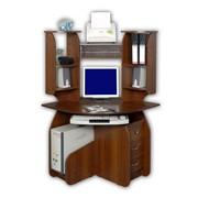 Стол компьютерный угловой радиальный с надставкой и тумбой фото