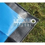 Тент защитный POLYTARP 6 x 10 м, с люверсами (тарпаулин 280 гр/м2, синий/черный) фото