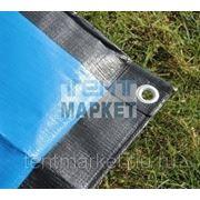 Тент защитный POLYTARP 2 х 10 м, с люверсами (тарпаулин 280 гр/м2, синий/черный) фото
