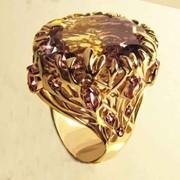 Золотое кольцо Слеза дракона с аметрином и аметистами фото