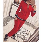 Вязаный спортивный костюм кофта на молнии с карманами + брюки внизу на резинках ( 5 цветов ) фото