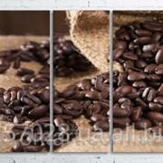 Модульна картина на полотні Кавові зерна у мішку код КМ100200(200)-090 фото