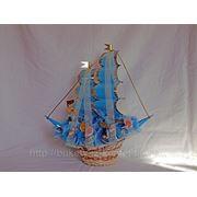 """Корабль из конфет """"Корабль малый голубой"""" фото"""