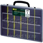 Ящик для инструментов FIT синий с ручкой, пластиковый (36x28x7 см) фото