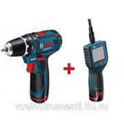 Набор электроинструментов: аккумуляторная смотровая камера bosch gos 10,8 v-li + аккумуляторная дрель-шуруповерт bosch gsr 10,8-2-li 0.601.241.002 фото