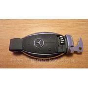 Корпус для Смарт-ключа Mercedes,3 кнопки + вставка + дверной ключ (хром) фото