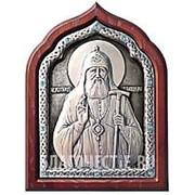 Курская церковная мастерская Тихон, святой Патриарх, именная серебряная икона, стразы фото