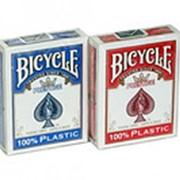 "Карты ""Bicycle Prestige"" 100% пластик, синяя рубашка фото"