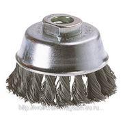Щетка-чашка Wolfcraft из жгутовой проволоки для УШМ, 100 мм, М14 фото
