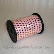 Лента золотые сердца розовая, ширина 1 см фото