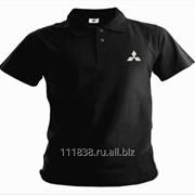 Рубашка поло Mitsubishi черная вышивка белая фото