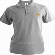 Рубашка поло Mitsubishi серая вышивка золото фото