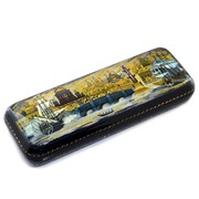 Лаковая миниатюра Шкатулка пенал Санкт-Петербург Федоскино фото