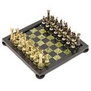 Шахматы Римские на подставках бронза змеевик фото