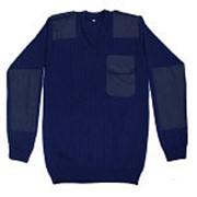 Свитер ПШ Синий с накладками ( с V-образным вырезом) фото