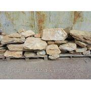 Камень - сланец кварцованный 30-60 кг (желтый с белыми прожилками) фото
