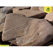 Плитняк ЖЕЛТЫЙ С РАЗВОДАМИ из песчаника голтованый (Фракция 30-40мм) фото