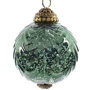 """Шар винтажный """"Индийские напевы"""", 75 мм, зеленый, стекло (Kaemingk) фото"""