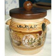 """Банка для сыпучих продуктов с деревянной крышкой (сахар) """"кантри"""" (630752)"""