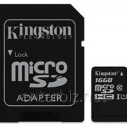 Карта памяти MicroSDHC 16GB Kingston Class 10 UHS-I + SD адаптер (SDC10G2/16GB) подарок к моб.тел.