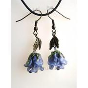 Серьги Голубые розы фото
