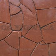 Природный камень кварцитопесчаник, рваный край, темно-красный фото