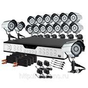 Полный комплект: 16-канальный DVR + 16 уличных цветных CCD ИК-камер + кабели + 1TB HDD фото