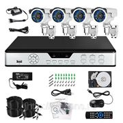 Полный комплект: 4-х канальный DVR + 4 уличные вариофокальные CCD ИК-камеры + кабели + HDD 1 Тб фото