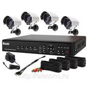 Полный комплект: 4-х канальный DVR + 4 уличные CMOS ИК-камеры + кабели + 500Гб HDD фото