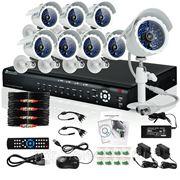 Готовый комплект: 16-канальный DVR + 8 уличных цветных CCD ИК-камер + кабели, без HDD фото
