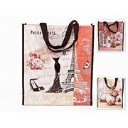"""Сумка """"парижские каникулы"""" 35*40*10см. (3вида) (полихлорвиниловый материал, текстильные ручки) (770217)"""
