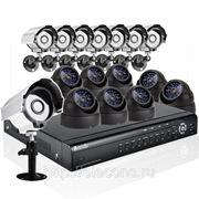 Готовый комплект: 16-канальный DVR + 16 CCD (8 ул.+ 8 внутр.) ИК-камер + кабели + 1TB HDD фото
