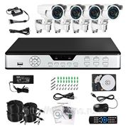 Полный комплект: 4-х канальный DVR + 4 уличные вариофокальные CCD ИК-камеры + кабели + HDD 500Гб фото