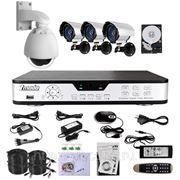 Полный комплект: 4-х канальный DVR + 3 CCD + 1CCD PTZ ИК-камеры + кабели + HDD 500Гб фото