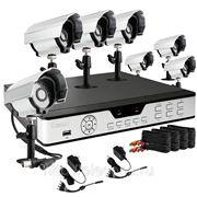 Полный комплект: 8-ми канальный DVR + 8 уличных CCD ИК-камер + кабели + 1Тб HDD фото
