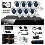 Полный комплект: 8-ми канальный DVR + 8 уличных CMOS ИК-камер + кабели + 500Гб HDD фото
