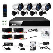 Полный комплект: 4-х канальный DVR + 4 уличные CCD ИК-камеры + кабели + 1Тб HDD фото