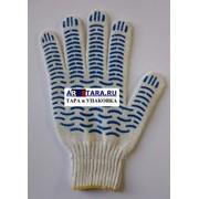 Перчатки рабочие хлопчатобумажные 4+ нити 7 класс с ПВХ волна Стандарт+ 45 гр фото