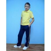 Фуфайка-поло на кнопках со штампом на рукаве и брюки спортивные с лампасами, номер 3891 фото