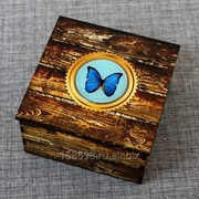 Шкатулка из дерева со смолой, Бабочка фото