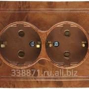 Розетка Светозар Гамма с заземлением, двойная, цвет орех, 16А-~250В фото