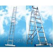 Лестница двухсекционная алюминиевая 2х8 ст., Н=3,64м фото