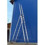 Лестница трехсекционная алюминиевая 8615, 3х15 ступеней, мах Н=11,20м фото