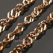 24К Пустотелая золотая цепь Сингапур 5, 4.5, 3.8, 2 мм фото