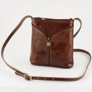 Кожаная мужская сумочка (коричневая) фото